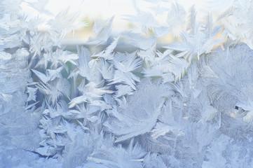 Frozen window, winter background