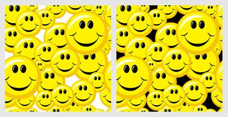 good yellow smileys(seamless texture on white and black background)