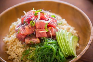 ahi poke bowl on brown rice