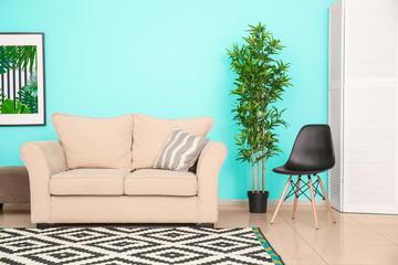 Modern living room design with comfortable sofa