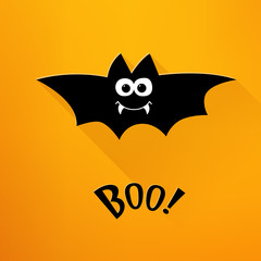 Happy Halloween card with cartoon bat and text on orange background. Flat design. Vector.