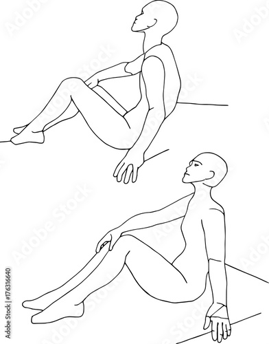 sitting people line drawing artist body figure pose reference