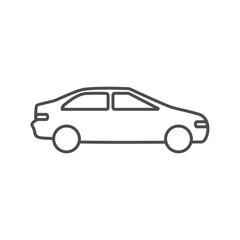 Car automobile icon outline silhouette on white background. Ground transport.