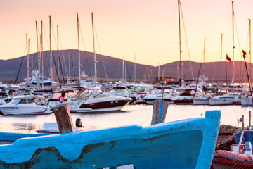 Poster de jardin Ville sur l eau Seaside landscape - sunset view in the harbor town of Sozopol on the Black Sea coast in Bulgaria
