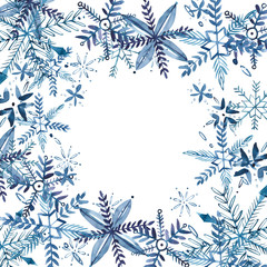 Abstract Christmas background with snowflakes isolated on white.