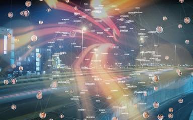 Composite image of bubbles with portraits