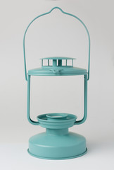 Teal Metal Candle Lantern on White Background Front View