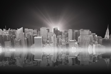Composite image of illuminated modern building of the New york