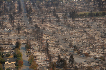An aerial view of properties destroyed by the Tubbs Fire is seen in Santa Rosa, California