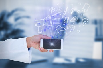 Composite image of male doctor holding smart phone with blank