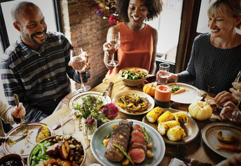 Poster Restaurant People are celebrating Thanksgiving day