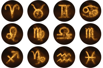 Zodiac signs buttons. Set of horoscope symbols, astrology icons collection.