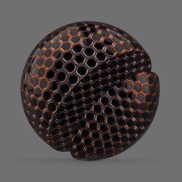 Orange and black hexagon tiles