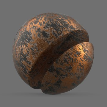 Scratched copper and black paint