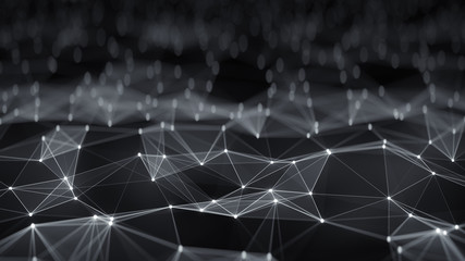 Futuristic network shape abstract render with DOF