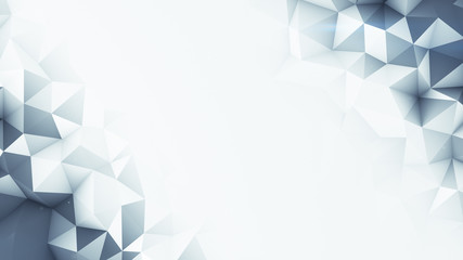 Grey polygons and free space abstract 3D render background