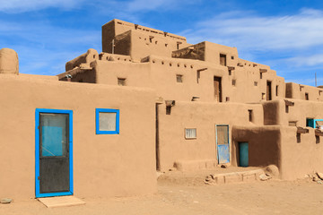 Historic adobe buildings in Taso, New Mexico