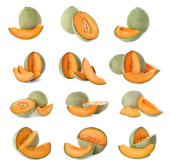 Set of fresh sliced melons on white background