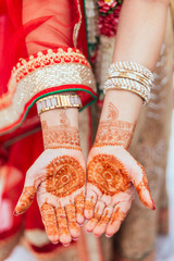Henna paint on both hands for woman at Indian wedding ceremony in Bangkok, Thailand.