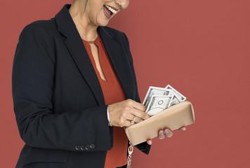 Business Woman Wallet Money Concept