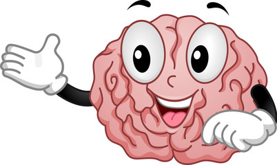 Brain Mascot Teach Illustration