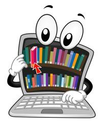 Digital Library Laptop Mascot Illustration