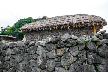 The house of traditional style for the garage at Seongeup Folk Village, Jeju island, South Korea