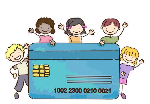Stickman Kids Atm Credit Card Illustration
