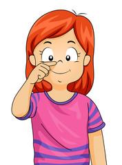 Kid Girl Point Nose Illustration
