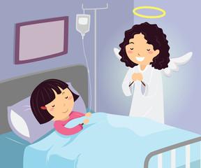 Stickman Kid Girl Hospital Guardian Angel Illustration
