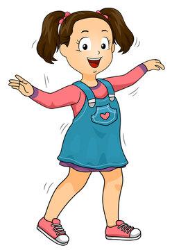 Kid Girl Wiggle Illustration