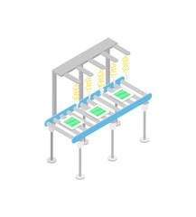 Modern mechanical conveyor isometric 3D icon. Industrial goods production, manufacturing process, assembly line vector illustration.