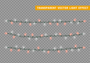 Christmas lights isolated realistic design. Lights garlands color white and red. Glowing Xmas decorations.