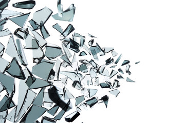 Broken glass explosion on white background ,photo high resolution texture decoration backdrop object design