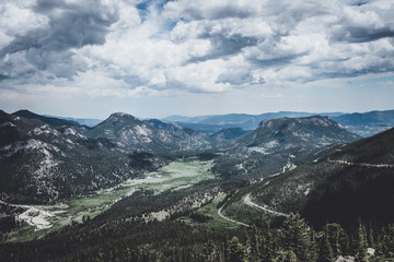 Scenic cloudy landscape of the Rocky Mountains, Rocky Mountain National Park, Colorado, USA