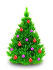 3d neon green Christmas tree over white