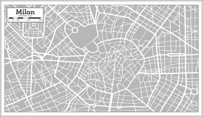 Milan Map in Retro Style. Hand Drawn.