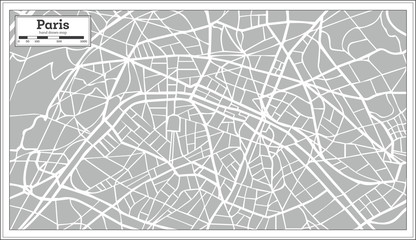 Paris Map in Retro Style. Hand Drawn.
