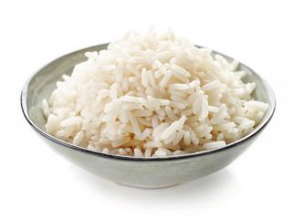 Bowl of boiled long grain rice