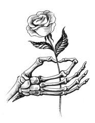 Skeleton hand holding a rose