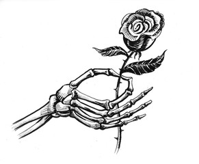 Dead hand and rose