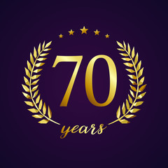 70 years old luxurious logotype. Congratulating 70th, 7th numbers in circle of palms, cup template. Isolated sign greetings symbol, celebrating traditional stained-glass decorative retro style ear.