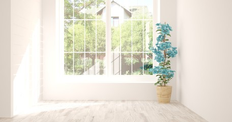 Idea of white empty room with summer landscape in window. Scandinavian interior design. 3D illustration