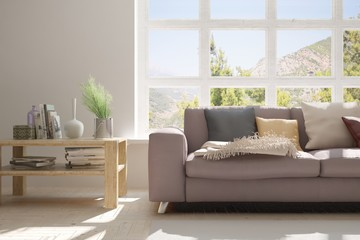 Idea of white room with sofa and summer landscape in window. Scandinavian interior design. 3D illustration