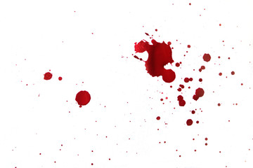 Blood splatters on white background.
