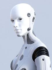 3D rendering of female robot face.