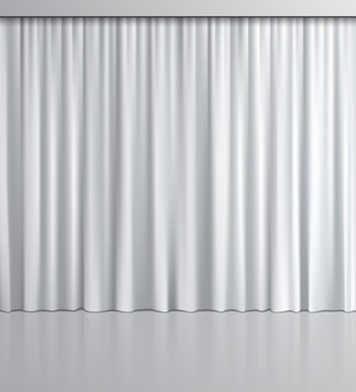 White curtain background. Vector realistic white curtain with mirror reflection.