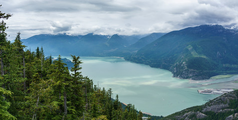 scenic view of Howe sound from the sea to sky gondola in Squamish , British Columbia.