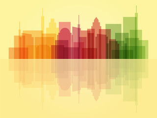 Stylish transparent cityscape background