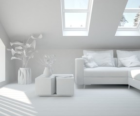 Inspiration of white minimalist room with sofa. Scandinavian interior design. 3D illustration
